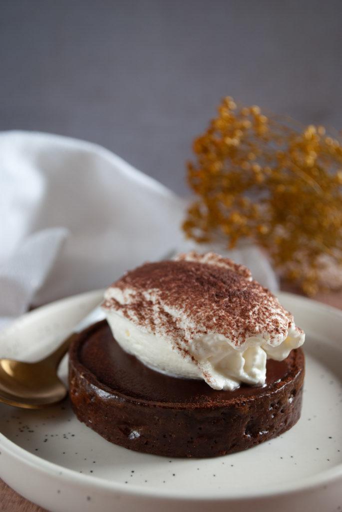 Vue de la tarte chocolat viennois