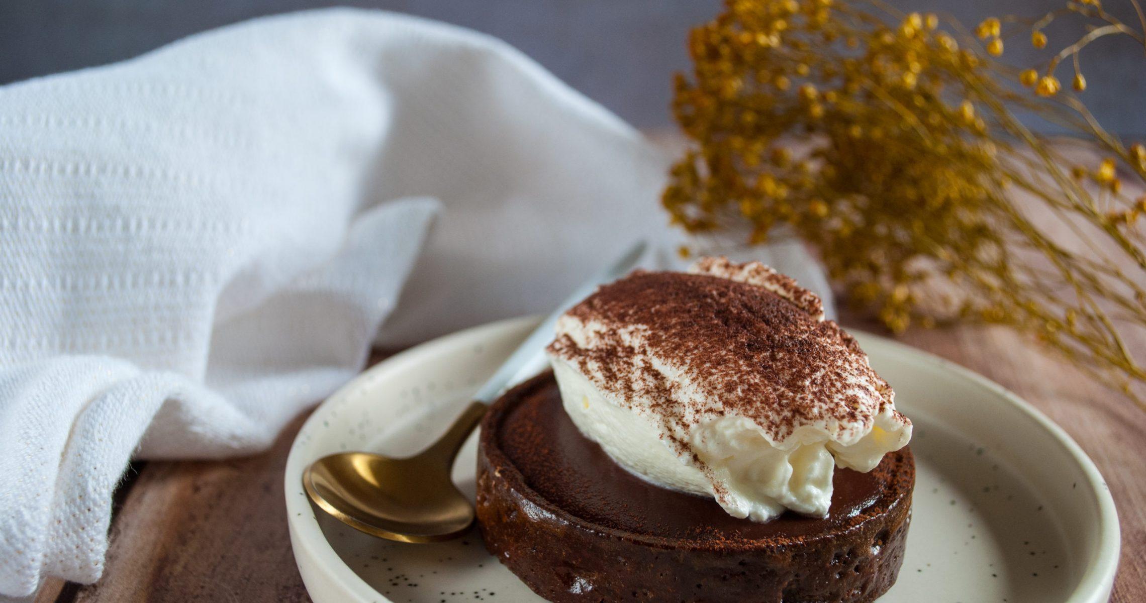 Vue de la tarte au chocolat viennois